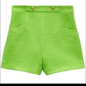 Zara S lime green gold button textured shorts